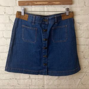 Denim skirt with buttons and suede